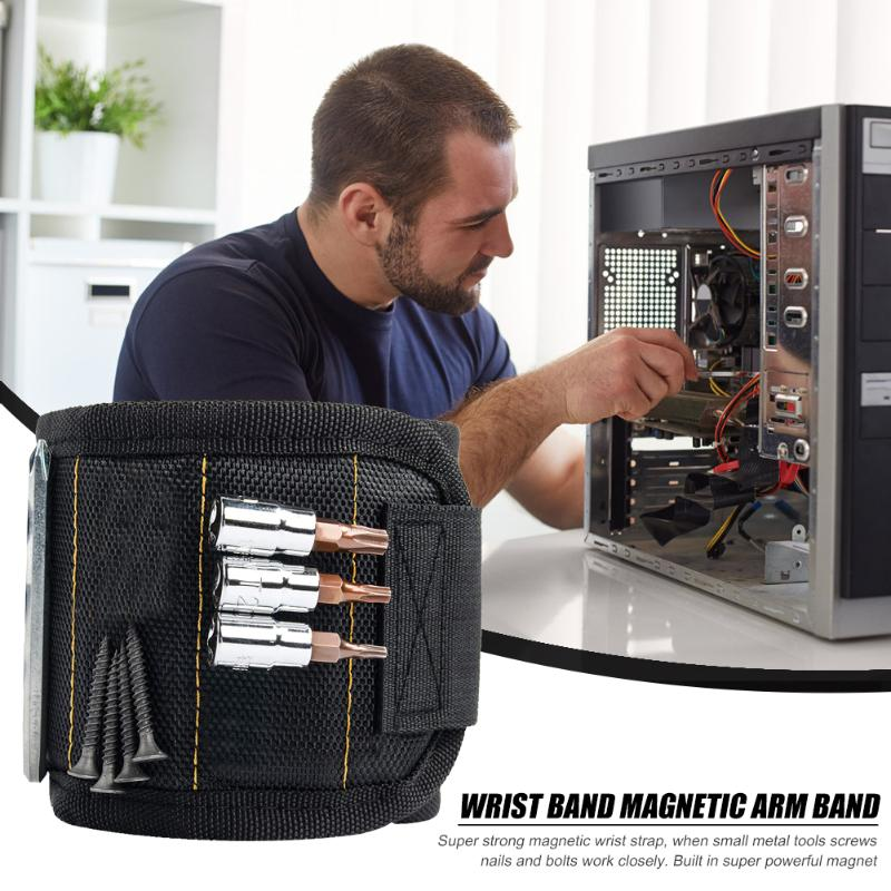 Portable Tool Magnetic Wristband Bag With 5 Magnet Compartment Screw Nail Drill Bracelet Electrician Wrist Tool Repair Kit