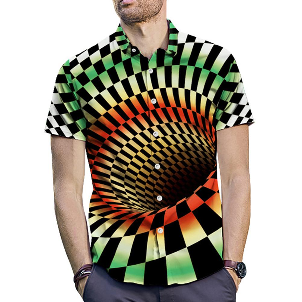 2019 Fashion Summer Men Funny Vertigo Hypnotic 3D Art Printing Short Sleeve Turn Down Collar Cotton Shirt Top Tees Dropshipping