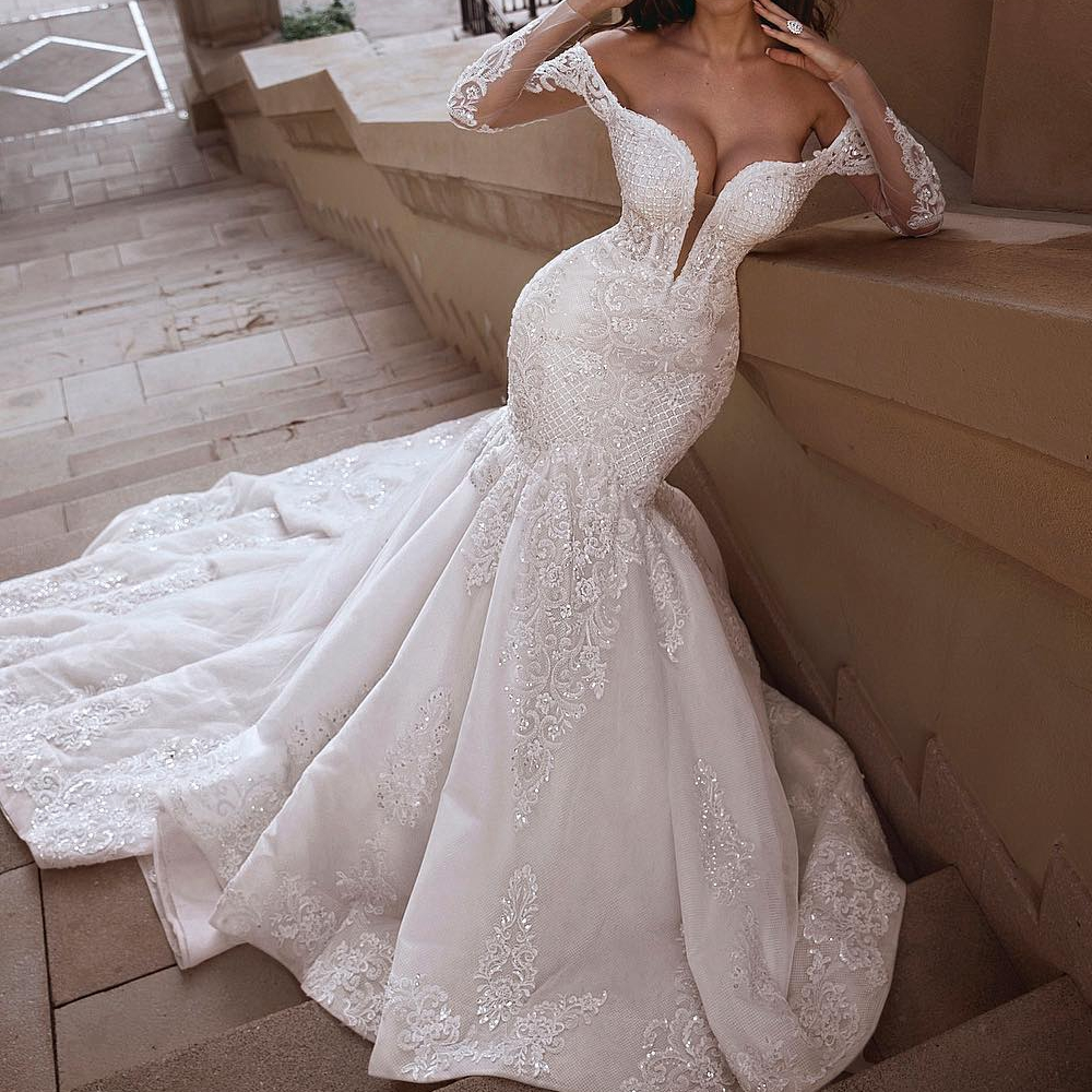 Luxury Mermaid Gown Wedding Dress Sexy Deep V Neck Off The Shoulder Tulle Hollow Sleeves Cathedral Train Bridal Gown