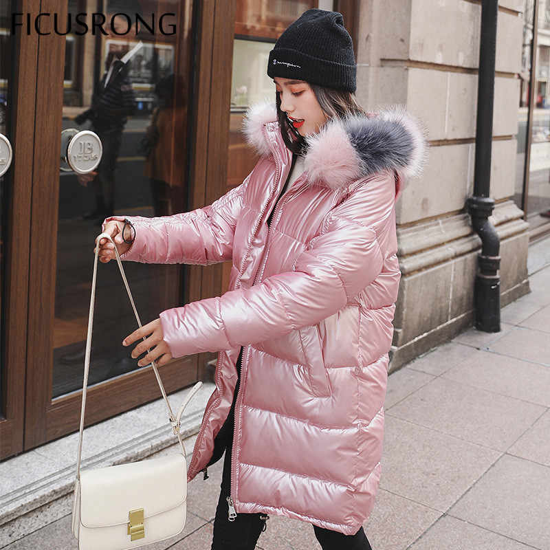 FICUSRONG Fashion Medium Long Glossy Down Parka Womens Winter Jackets Coats Warm Thicken Shining Babric Stylish Fur Ladies Coats