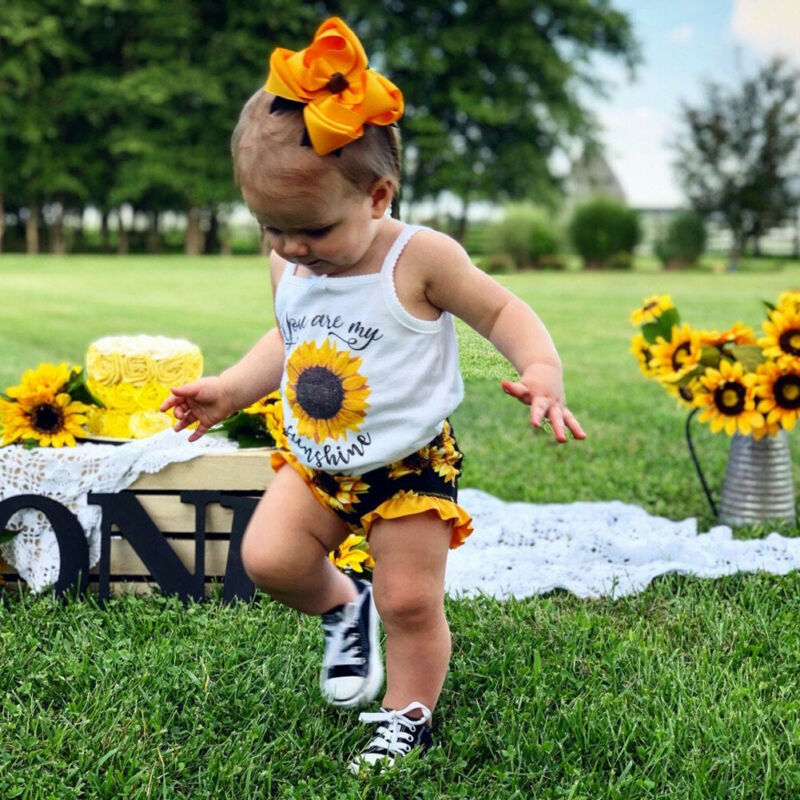 0-24M Summer Kids Baby Girls Clothes Sunflower Vest Tops + Floral Shorts Pants Outfit Clothing Set