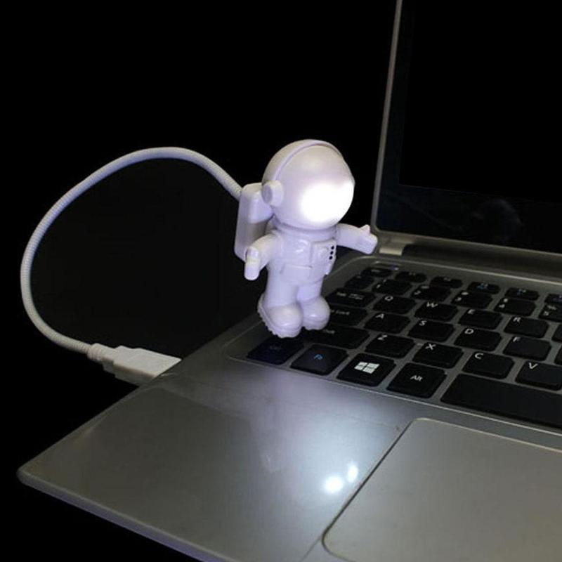 White Flexible Spaceman Astronaut USB Tube LED Night Light Lamp For Computer Laptop PC Notebook Reading Portable DC 5V Creative