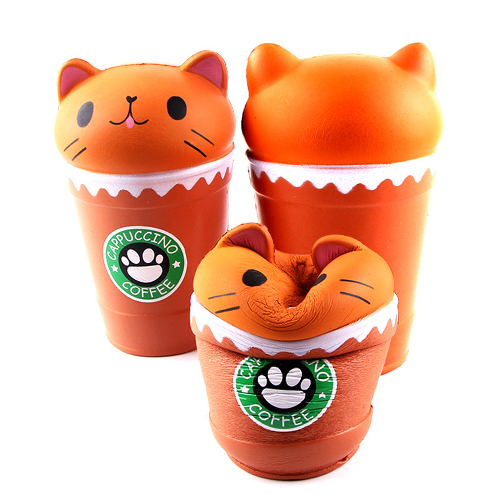 Cut Coffee Cup Cat Slow Rebound PU Toy Scented Squishies Squeeze Toy Gift  Kneading Pressure Decompression Toy  L1213