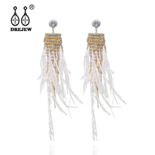 DREJEW Pink White Gray Black Ostrich Feather with Gold Rhinestone Statement Earrings 925 Drop for Women Wedding HE845