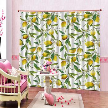 Customized size yellow curtains fruit 3D Window Curtain 3d print Luxury Blackout For Living Room
