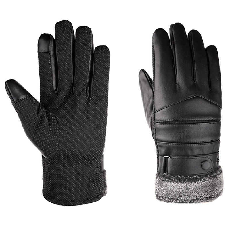Cycling Gloves Plus Velvet Thickened Press Sn Warm Cotton Windproof and Cold Skiing Men's Leather Gloves|Men's Gloves| - AliExpress