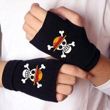 1 para nowe Anime jednoczęściowe rękawiczki akcja jednoczęściowy rysunek bawełniane rękawiczki Luffy Edward pół rękawica silikonowa zabawka klawiatura na prezent
