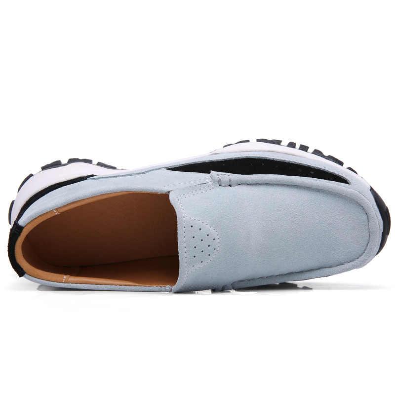 2019 frühling Frauen Flache Schuhe Plattform Turnschuhe Leder Wildleder Casual Schuhe Frauen Mokassins Slip Auf Wohnungen Faulenzer Weiblichen Creepers