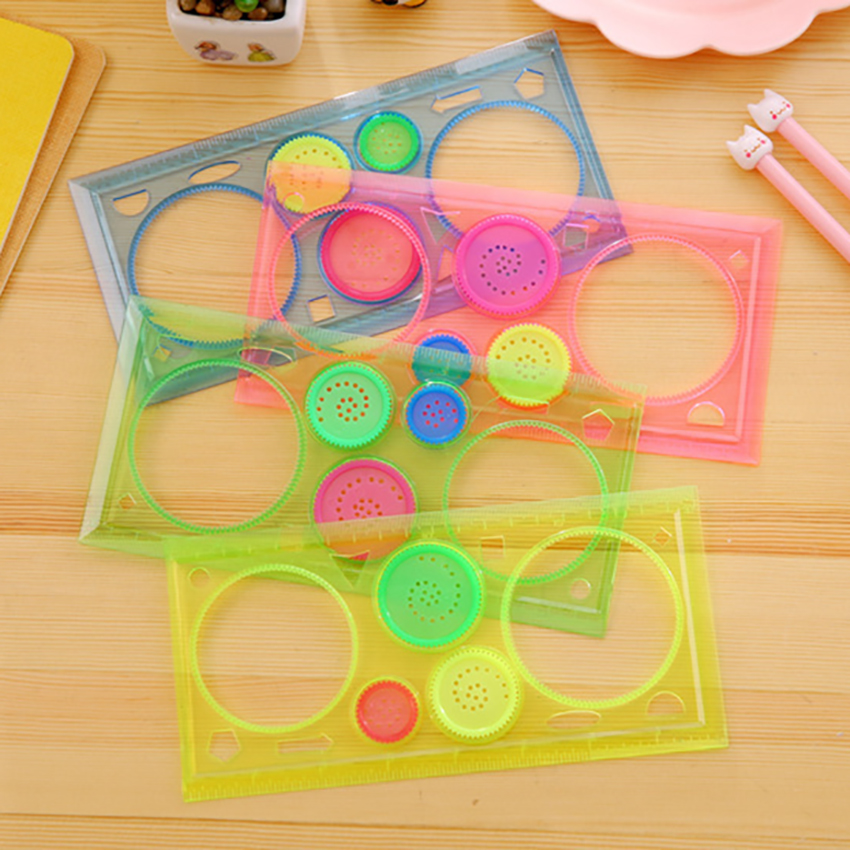 4 Colors Clear Plastic Drawings Templates Measuring Ruler Circle Template Geometric Rulers For School And Office Supplies