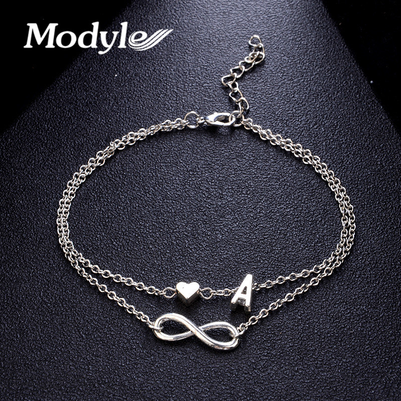 Modyle Vintage Silver Color Anklet Female Letter Heart Bohemian cheville Boho Charm Jewelry Infinity Ankles Bracelets for Woman