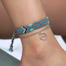 Hello Miss Fashion new anklet summer beach double round wave national wind hand-woven womens jewelry