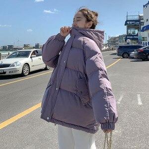 Женская хлопковая куртка с капюшоном в Корейском стиле; Свободная зимняя куртка в гонконгском стиле; Утолщенная одежда в стиле Харадзюку