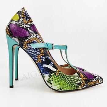 LAIGZEM Women Pumps Mulit Snake Print Heels T Strap Sandals Women Party Zapatos Mujer Spring Shoes Women Large Size 41 44 45 47