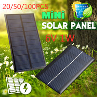 20/50/100 6V 1W Solar Panel Solar System Module DIY Solar Power Bank For Battery Cell Phone Toys Chargers Portable Drop Shipping