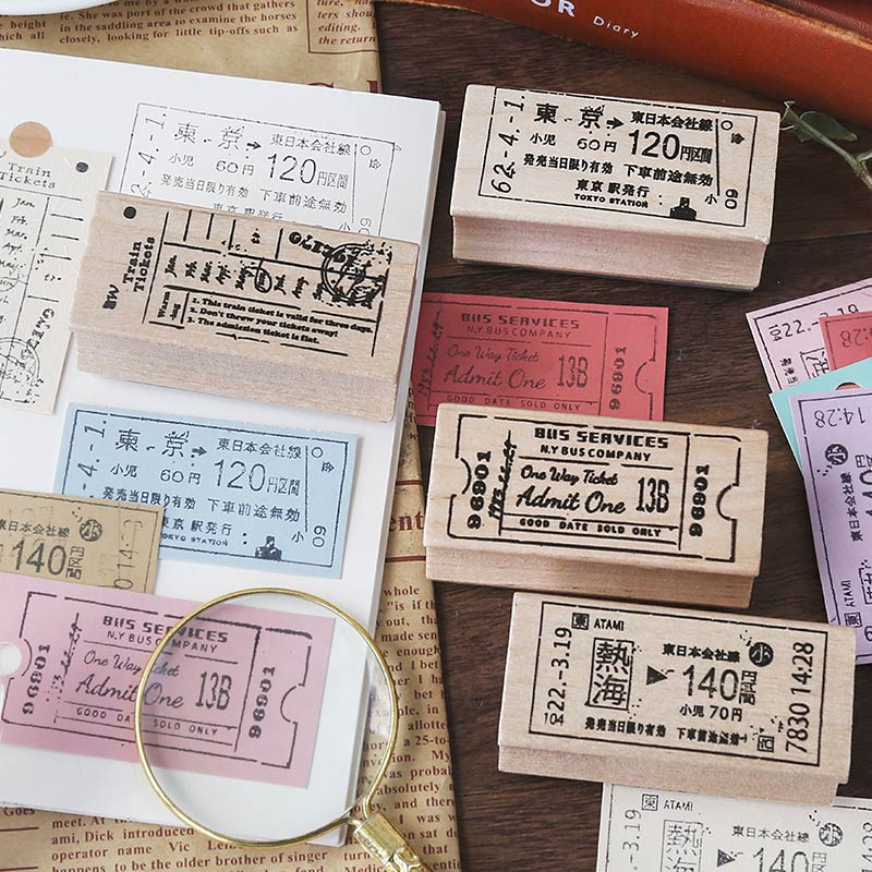 Retro Memory Travel Tickets Wooden Seal Decoration Stamp Wooden Rubber Stamps For Scrapbooking Stationery DIY Craft Standard