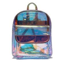 LJT Women Transparent Backpacks High Quality PVC Cool Mini Clear Bag Student Harajuku Waterproof School Holographic BackpacK