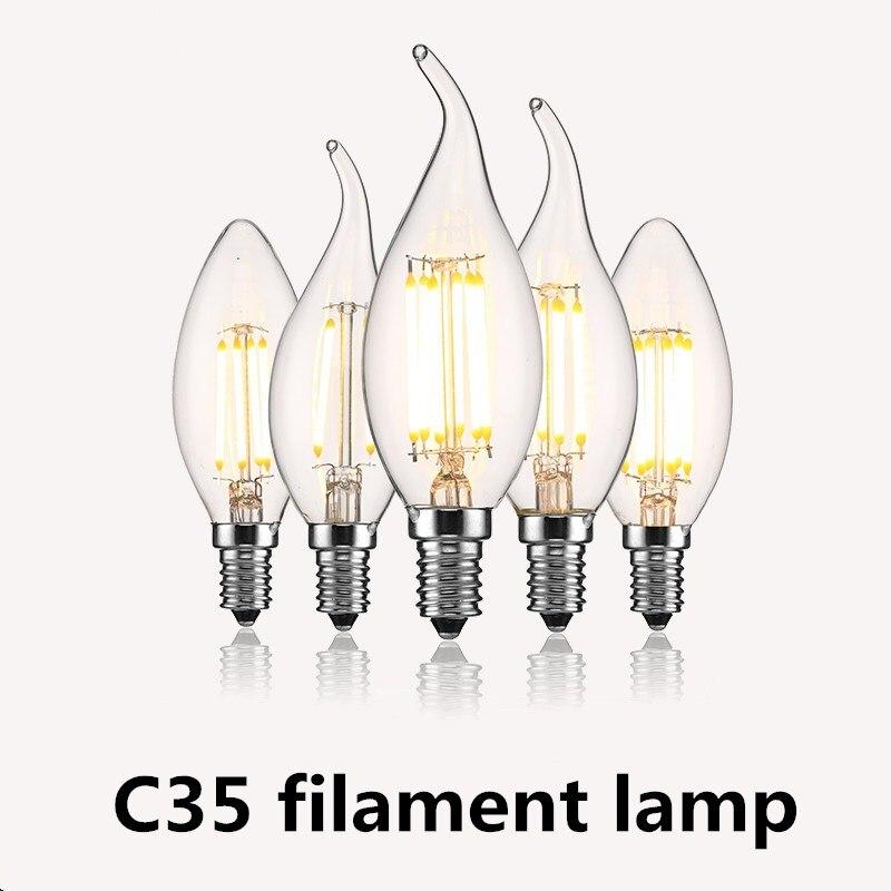 Super Bright E14 LED Bulb Light 2W 4W 6W 220V Filament Candle Bulbs C35 C35L Edison Led Lamp Ampoule for Chandelier Lighting
