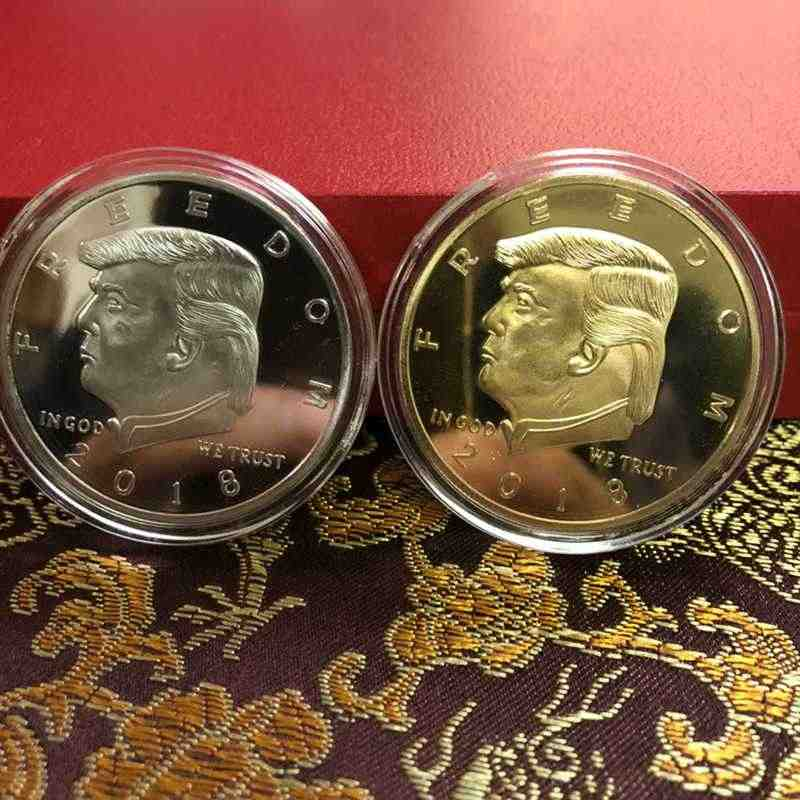 2018 President Donald Trump Inaugural Gold Plate Commemorative Coin Double Gun