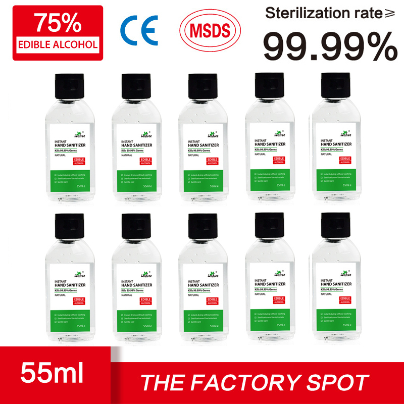 10PCS 55ml 100ml Quick-drying Disinfection Gel 75% Alcohol Instant Hand Sanitizer Wash-free Antibacterial Gel For Children Adult