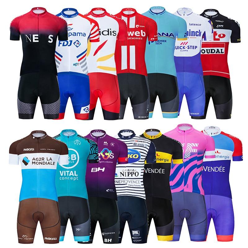 2020 プロチームフランスサイクリング服セットmtbシャツ自転車服バイクウエアropaのciclismoクイックドライメンズショートマイヨキュロット
