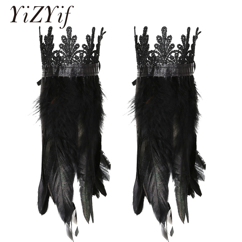 Feather Wrist Cuffs Black Real Natural Dyed Rooster Feather Wrist Cuffs With Ribbon Ties For Cosplay Costume Party Halloween
