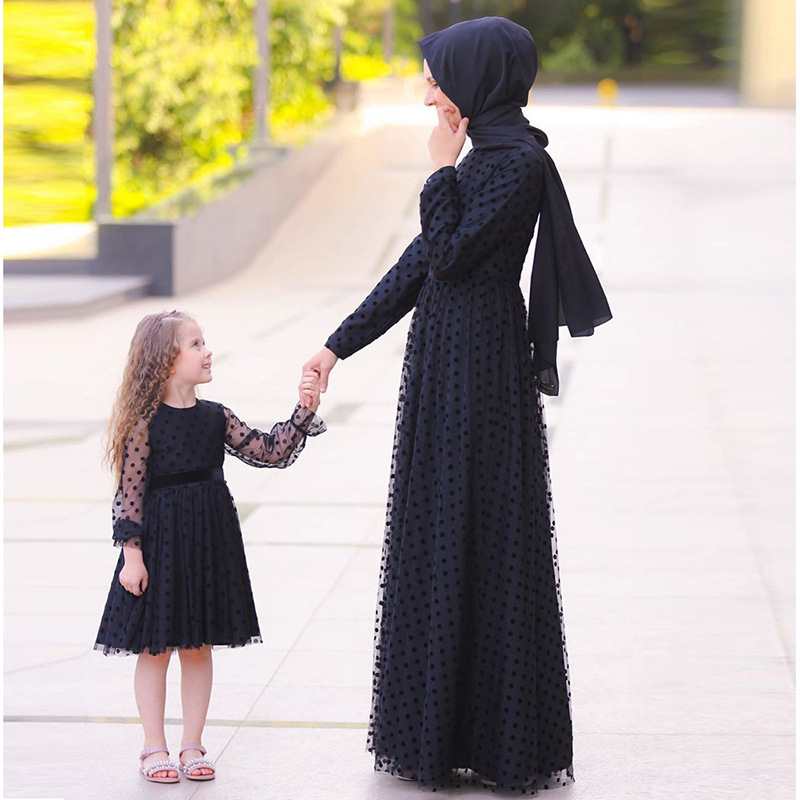 Black Girls Kids Abaya Dubai Hijab Muslim Dress Turkish Islamic Clothing For Women Caftan Kaftan Tesettur Elbise Djelaba Femme
