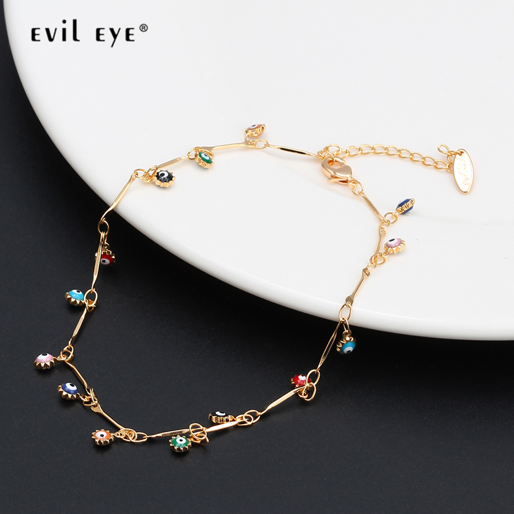 EVIL EYE Water Drop Sun Star Charm Anklet Gold Color Foot Chain Ankle Bracelet Adjustable Jewelry for Women Female Girls EY6528