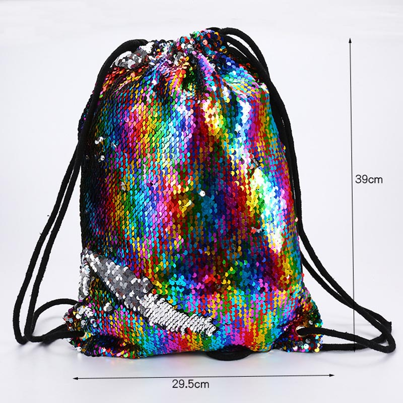 Sequin Drawstring Bags Reversible Sequin Backpack Glittering Shoulder Bags For Girls Women C66