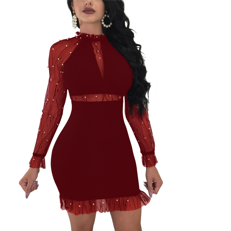 Sheer Mesh Patchwork Pearls Bandage Dress Long Sleeve Cut Out Women Bodycon Night Club Party Celebrity Christmas Dresses