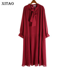 XITAO Korean Style Pleated Dress Women Fashion Loose Plus Size Long Sleeve Dresses for Women Wild Bow Collar Autumn New DZL2140(China)