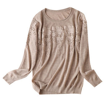 Sweater Women's Autumn and Winter Wear Stitching Lace Sweater Long Sleeve Round Neck Solid Knitted Top Women Office Lady solid guipure lace lantern sleeve sweater long sleeve sweater women top