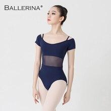 Ballet danse pratique à manches courtes justaucorps femmes danse Costume gymnastique fronde maille justaucorps Adulto ballerine 3541