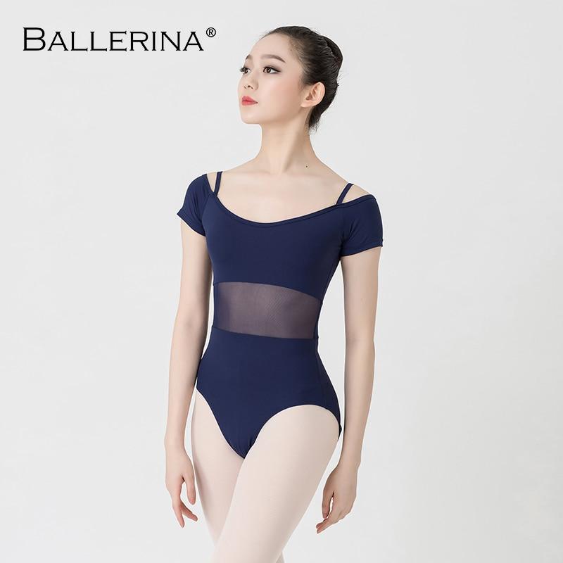 Ballet Dance Practice Short Sleeve Leotard Women Dance Costume Gymnastics Sling Mesh Leotards Adulto Ballerina 3541