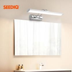Nowoczesne oświetlenie lustra led kinkiet łazienka 12W 42CM AC 90 265V ze stali nierdzewnej wodoodporne oświetlenie naścienne led lampka na toaletkę w Wewnętrzne kinkiety LED od Lampy i oświetlenie na