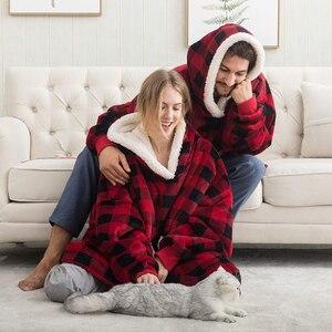 Image 3 - Oversized Hoodies Sweatshirts Women Plaid Blanket Wearable Hoodie Blanket with Sleeves Winter Hooded Sweatshirts Sherpa Blanket