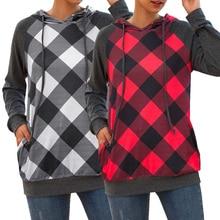Goocheer Womens lattice hoodies O Neck Long Sleeve Grid Stitch Hooded Sweatshirt Pullover Casual Tops moletom feminino