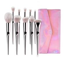 цена на 10Pcs Makeup Brushes Set Professional Set Brush Powder Eyeshadow Eyebrow Blush Make Up Brush With Portable PU Case Beauty Tools