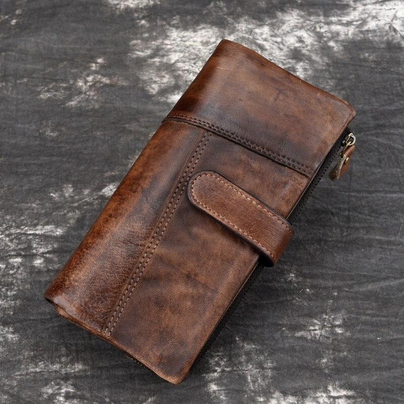 Men's Purse BAOERSEN Leather Fashion Stitching Long Wallet New Casual Multi-Card Bit Purse New Retro Men's RIFD Wallets