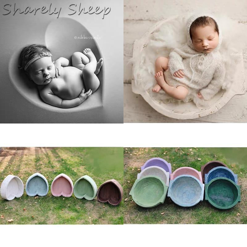 Wooden Basket Newborn Photography Props Baby Boy Girl Picture Photo Shoot Posing Retro Wood Basket Bowl fotografia Accessories
