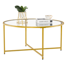BUYTOO +% 5B90 x 90 x 45% 5Dcm Simple Cross Foot Single Layer Round Edge Table 90 Round Gold