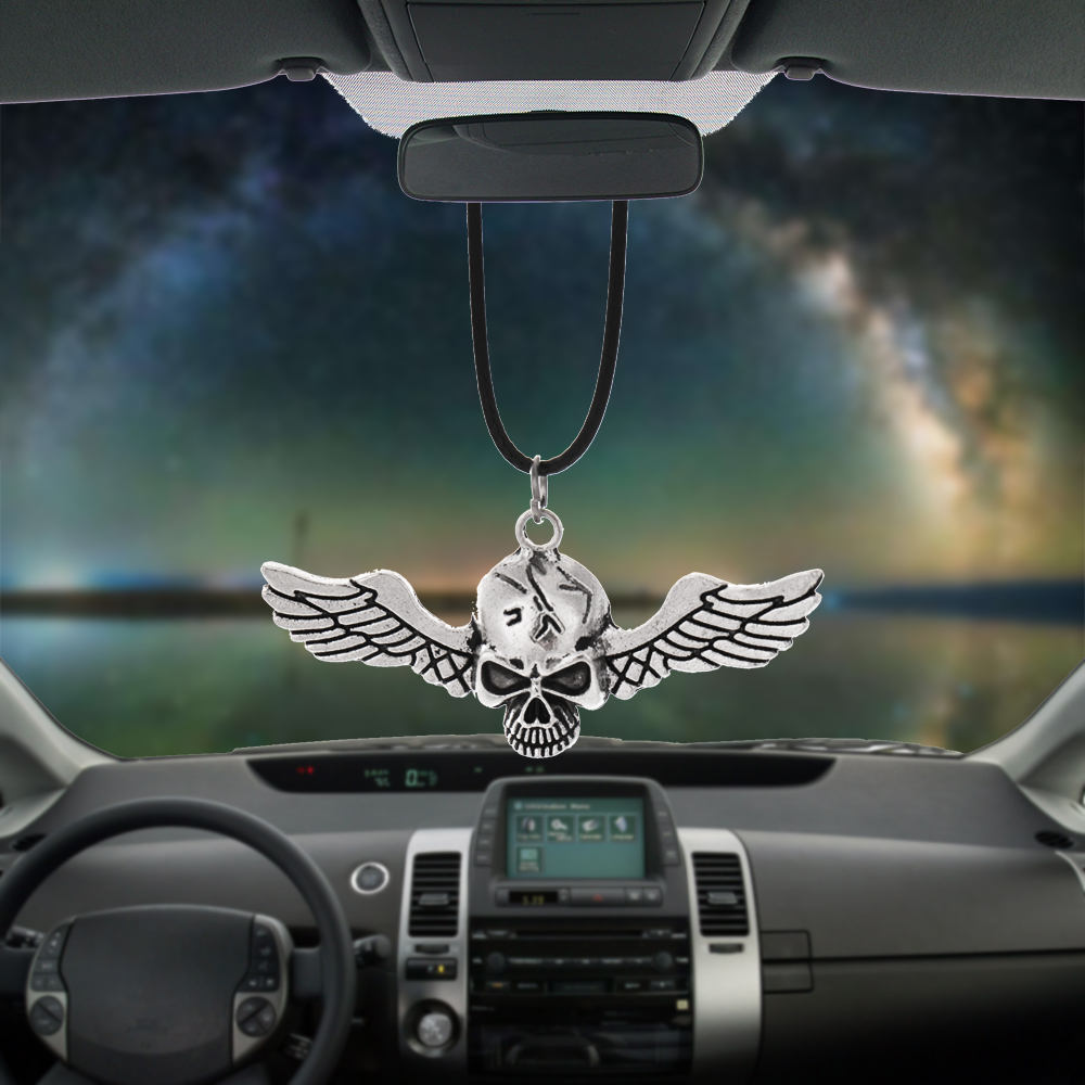 BEMOST Car Rear View Mirror Pendant Hanging Interior Accessory Ornament Cool Skull Head And Angel Wing Creative Car Decoration