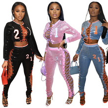 Bling Sequin Female Clothing Pants Sets Fall Clothes For Women Jumpsuits Toppies 2 Piece Streetwear Sexy Outfit Jaded London