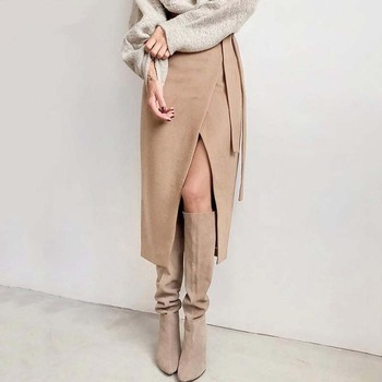 Womens Winter Skirt Wool Autumn Irregular Slit Female Brown Thick Warm Clothes 2019 Fall Lace-up Wrap Work Office Long Skirts 2