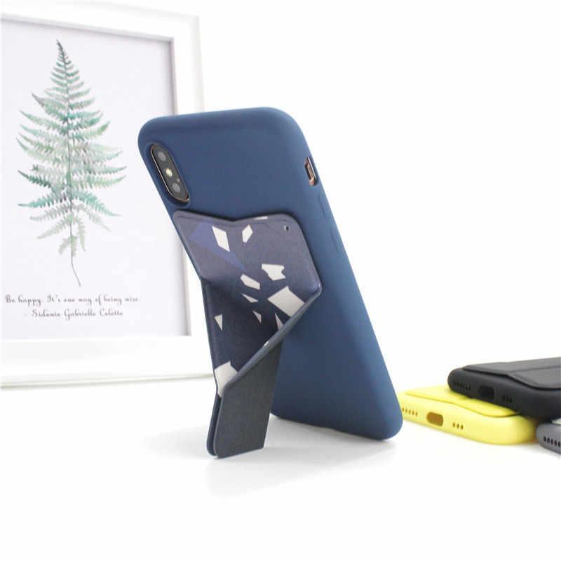 Ultradunne Telefoon Stand Vouwen Onzichtbare Telefoon Houder Magnetische Back Mount Mobiele Telefoon Stand Voor Huawei P20 P30 Pro Met Lanyard