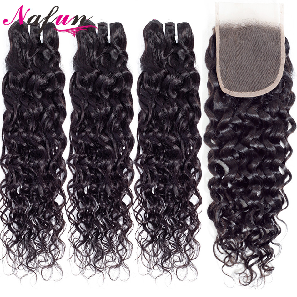 Nafun Water Wave Hair Bundles With Closure Human Hair Wave Bundles With Closure Peruvian Non-Remy Human Hair Extension