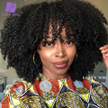 200% Density Afro Kinky Curly Wigs With Bangs Short Brazilian Remy Human Hair Machine Made Wig Glueless For Black Women Luffywig