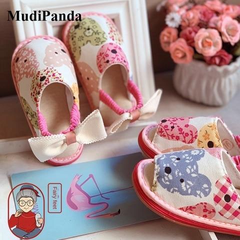 mudipanda casa do bebe chinelos para a menina 2020 outono inverno rosa artesanal crianca princesa
