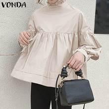 VONDA Womens Elegant Solid Womens Blouses Vintage Lantern Sleeves 100% Cotton Sweet Ladies