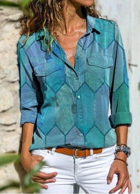 2020 Autumn Casual Women Blouse Shirts Retro V Neck Button Long Sleeve Tops Elegant Office Ladies Plus Size Shirt Blusa Feminina 2