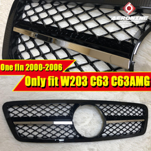 For MercedesMB W203 C63 look Electroplate One fin Grille ABS Sport C-class C180 C200 C250 C300 Without Sign Look Grills 2000-06